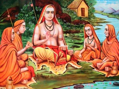 Adi shankaracharya with his disciples