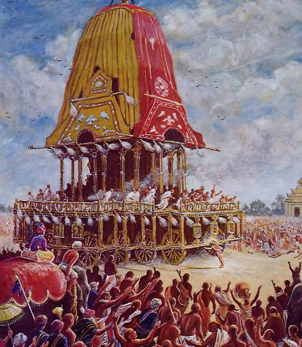 Lord Caitanya Mahaprabhu pulled the chariot from the Jagannatha Temple