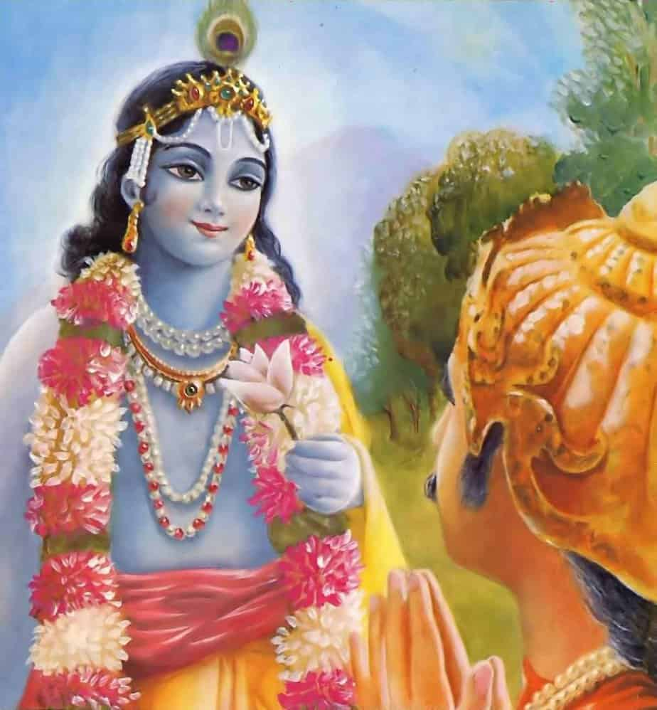 A person lives within household life, serving Sree Krishna